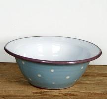 Schale in hellblau mit lilarotem Rand